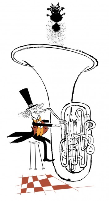 Tuba player surprise greetings card by Rowan Barnes-Murphy published by Peartree-Heybridge